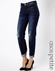 Asos Petite Exclusive Brady Low Rise Slim Boyfriend Jeans In Dark Wash With Busted Knees Indigo