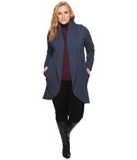 B Collection By Bobeau Plus Size Peri Brushed French Terry Jacket Navy Women's Coat