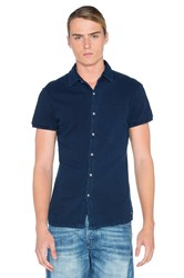 Scotch And Soda Shortsleeve Pique Shirt Blue