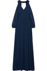 Mikael Aghal Cold Shoulder Pleated Chiffon Gown Midnight Blue