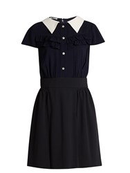 Miu Miu Point Collar Ruffle Trimmed Crepe Shirtdress Navy