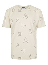 Antioch Brown Off White Letter Print T Shirt
