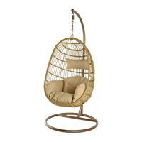 Amara Outdoor Hanging Wicker Chair With Cushions Natural