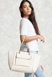 Forever 21 Faux Leather Tote Bag Cream