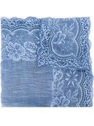 Ermanno Scervino Lace Trim Scarf Blue