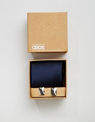 Asos Wedding Tie In Navy And Cufflink Pack Navy