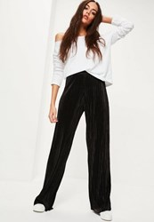 Missguided Black Crinkle Wide Leg Trousers