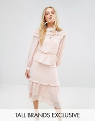 True Decadence Tall Premium Metallic Chiffon Layered Ruffle Midi Dress Nude Pink