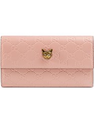 Gucci Signature Continental Wallet With Cat Pink