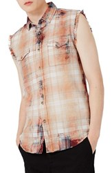 Topman Men's Sleeveless Bleach Plaid Shirt Red Multi