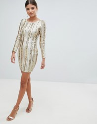 Girl In Mind Open Back Sequin Mini Dress Gold