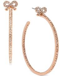 Betsey Johnson Rose Gold Tone Crystal Bow Hoop Earrings