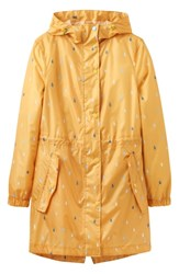 Joules Right As Rain Packable Print Hooded Raincoat Antique Gold Raindrops