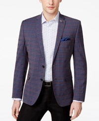 Nick Graham Men's Slim Fit Stretch Brown And Blue Deco Plaid Sport Coat