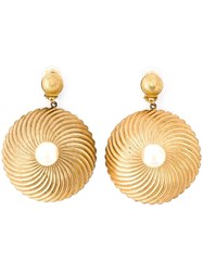 Katheleys Vintage Ribbed Round Pendant Earrings Metallic