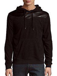 Prism Faux Leather Trim Hoodie Black