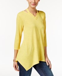 Styleandco. Style Co. Cutout Handkerchief Hem Tunic Only At Macy's Saffron Yellow