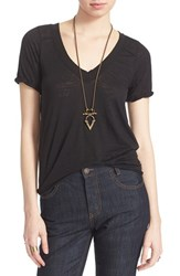 Free People Women's 'Pearls' Raw Edge V Neck Tee Black