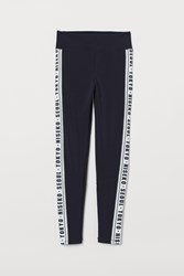Handm H M Leggings With Side Stripes Blue