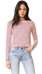 Amo Boatneck Tee Red Sailor Stripe