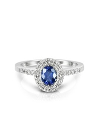 Forzieri Sapphire And Diamond 18K White Gold Ring Blue