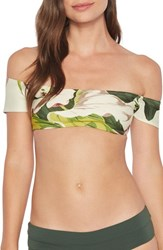 Robin Piccone Hawaiian Floral Off The Shoulder Bikini Top Multi