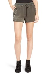 Soprano Women's Satin Drawstring Shorts Olive