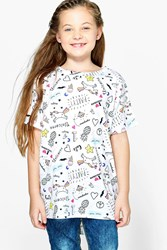 Boohoo All Over Print Unicorn Tee White