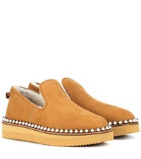 Alexander Wang Tedi Shearling Lined Slippers Brown