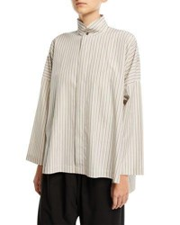 Eskandar Striped Wide Double Stand Collar Shirt White
