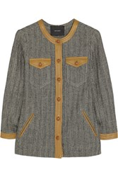 Isabel Marant Kailey Leather Trimmed Tweed Jacket