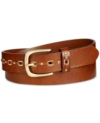 Inc International Concepts Grommet Leather Belt Only At Macy's Cognac