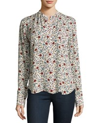 A.L.C. Rey Long Sleeve Floral Silk Top White Multicolor
