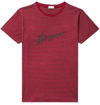Saint Laurent Logo Print Striped Cotton Jersey T Shirt Red