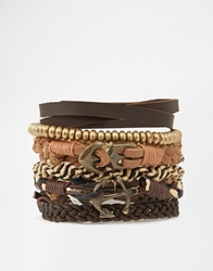 Asos Leather Bracelet Pack With Anchor And Gold Beads Brown