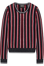 Markus Lupfer Grace Embellished Striped Metallic Merino Wool Blend Sweater Red