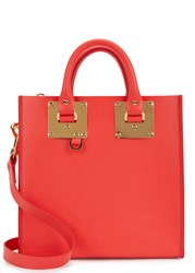 Sophie Hulme Albion Coral Leather Tote Red