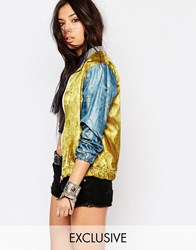 Milk It Vintage Relaxed Bomber Jacket In Lightweight Brocade Yellow Multi