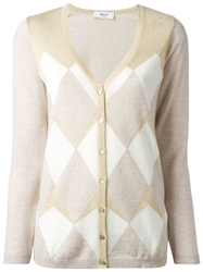 Blugirl Argyle Gold Tone Embellished Cardigan Nude And Neutrals