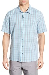 Patagonia Men's 'Puckerware' Regular Fit Check Short Sleeve Sport Shirt Electron Blue