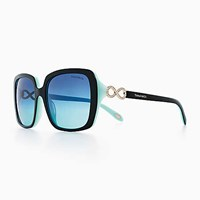 Tiffany And Co. Infinity Square Sunglasses In Black Blue Acetate. Plastic