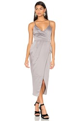 Lavish Alice Satin Wrap Midi Dress Gray