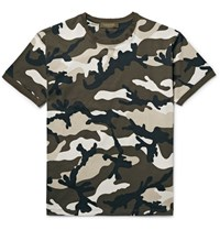 Valentino Slim Fit Camouflage Print Cotton Jersey T Shirt Dark Green