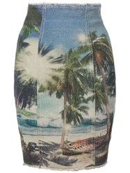 Balmain Printed Pencil Skirt Multicolour
