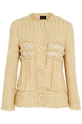 Simone Rocha Embellished Metallic Tweed Jacket Gold