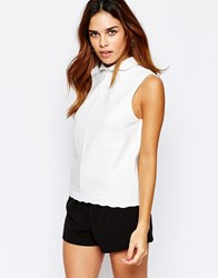 Warehouse Scallop Collar Shell Top Cream