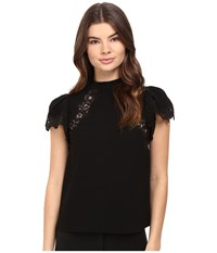 Rebecca Taylor Crepe Lace Top Black Women's Short Sleeve Pullover