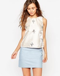 Glamorous Shell Top With Embellishment Nude Cream