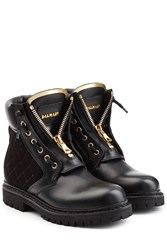 Balmain Leather Ankle Boots With Velvet Black