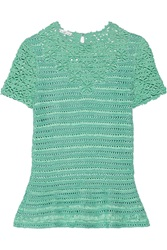 Oscar De La Renta Silk Open Knit Top